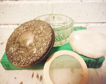 Vintage face powder box monogrammable silver mirrored dressing table fancy glass ornate repousse hollywood glam
