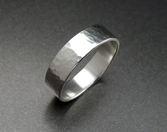 Silver Ring with Hammered Texture - 4mm, 6mm or 8mm wide