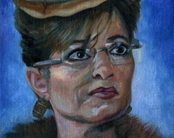 Canvas Print / Sarah Palin With A Tall Stack Of Pancakes On Her Head