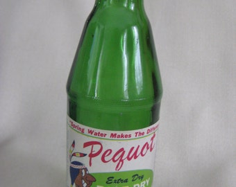 Vintage Pequot Pale Ale Ginger Ale Bottle with Indian