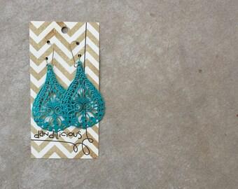 Hand painted metal earrings-turquoise