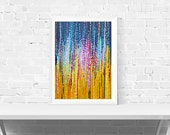 Abstract Print - Blue and Yellow Abstract Wall Art Print - Impressionistic Abstract Print - Abstract Cityscape - 'City Lights'