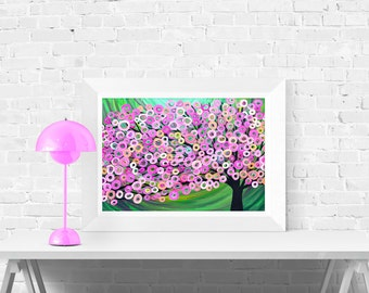 Pink & Green Tree Art Print - Giclee Print of Original Abstract Tree Painting - Fine Art Print in Pink and Green by Louise Mead