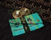 Small Assuit Zills Pouch- Vibrant Aqua Green, Black & Gold Assiut Finger Cymbals Bag