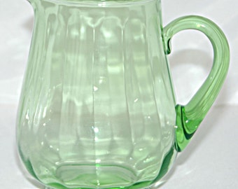 Vintage URANIUM Lime GREEN SQUAT Optic Water Pitcher w/ Applied Handle Weston n Louis Glass Co #3 r Federal Glass M19 V G Vintage Condition