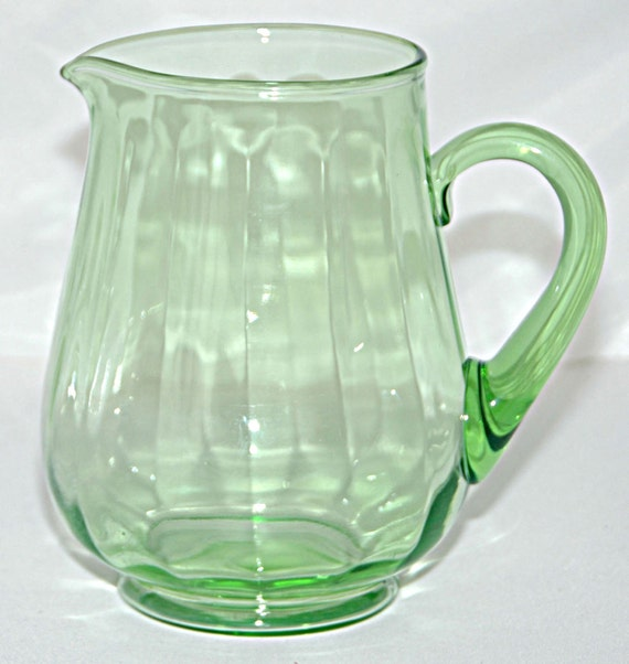Price Reduced: Vintage 1930s URANIUM Lime GREEN SQUAT Optic Water Pitcher w/ Applied Handle Excellent Vintage Condition