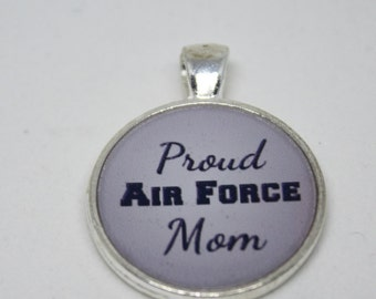 Air Force Mom Round or  Square Resin Pendant