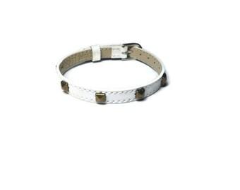 White Leather Stud Buckle Bracelet -  Antique Gold Pyramid Studded Leather Wristband - 8mm  Leather Strap -  Adjustable - Layering Bracelet