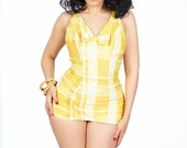 Reserved for Eleanor Vintage 1950s Catalina Swimsuit  / Yellow Plaid 1950s swimsuit