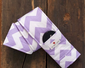 Camera Strap Cover- lens cap pocket and padding included- Lilac and White Chevron
