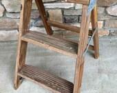Vintage Wooden 3-Step Ladder