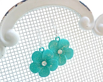 Girls Turquoise Flower Earrings