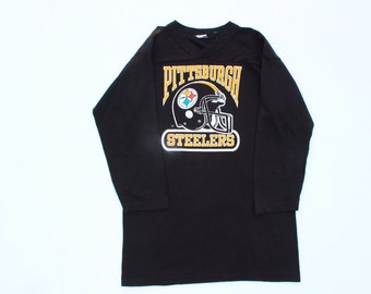 Vintage Pittsburg Steelers Black Shirt -sports v neck long sleeve top-XS Small size fitted -baseball-retro-workout