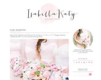 Blogger Template Premade Blog Theme Design Isabella Katy - Instant Digital Download, Feminine, Pink