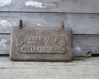 Vintage Industrial Decor Cast Iron Stove Furnace Door Sign Demmler Brothers Pittsburgh Pa Early 1900s Industrial Metal Sign Vintage Old Sign
