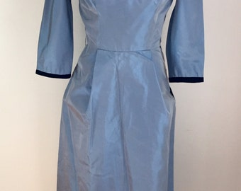 Vintage 1950s Henry Rosenfeld Misses' Dress Blue Taffeta New Old Stock XS 0 2