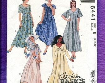 McCalls 6441 Ultra Flared Princess Seam Tea Length Dresses Size 8  10 12 UNCUT