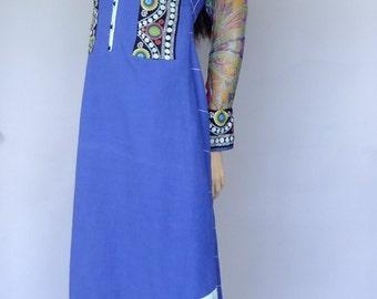 asymmetrical blue dress, indian dress, ethnic dress, boho dress, hippie dress, xs