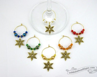 Gold snowflake wine charms holiday tags drink markers table ornaments wine glass charms wine glass marker gift under 25 winter wine charms