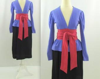Designer Scott Barrie Peplum Dress - Vintage 1970s Color Block Wool Jersey Dress in Small