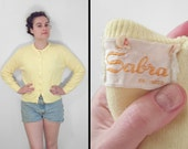 1960s YELLOW Cardigan SABRA // Small Med Button Pin Up Sweater