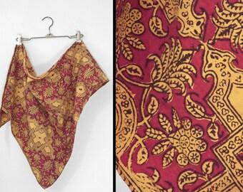 BATIK Floral Scarf 1970s Hippie India Crimson + Saffron Triangular