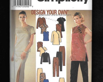Simplicity 9868 Misses' Tops With An Asian Flare, Hip Or Tunic Length, Slim Pants, Straight Skirts In 2 Lengths, Sizes 14 To 20, UNCUT