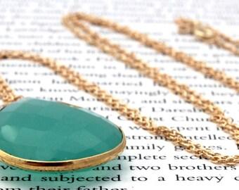Aqua Green Chalcedony Pendant Long Gold Necklace