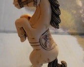 Horse Standing vintage Okimono  4 Inch hand carved Ox bone Ivory Style hand painted details from estate collection