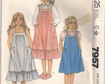 Sundress With Ruffle Or Jumper And Blouse Girls Size 14 Dress Sewing Pattern 1982 Laura Ashley McCalls 7957