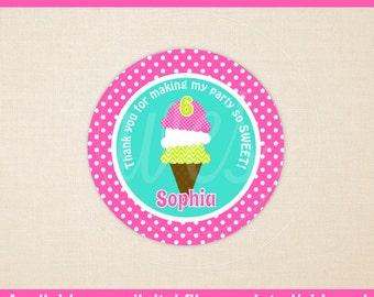 Ice Cream Favor Stickers - Ice Cream Stickers - Ice Cream Thank You Stickers - Ice Cream Birthday Stickers -  Digital & Printed