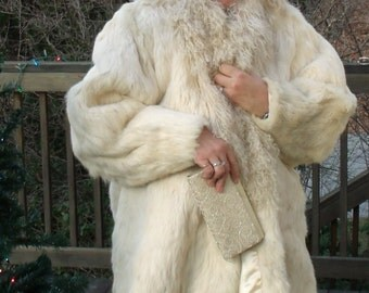 Winter Coat, White Rabbit and Lambs Wool Winter Coat, Fur Coat, REAL rabbit and Lamb Coat, Knee-length size 14 to 16.....