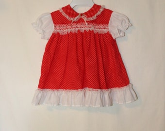 Vintage Sears Infant Girl Red with White Polka Dot Dress, lots of ruffles, lace and embroidery Size 12 months