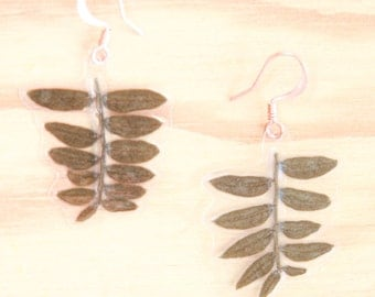 Natural Leaf Jewelry - Green Jacaranda Pressed Leaf Earrings