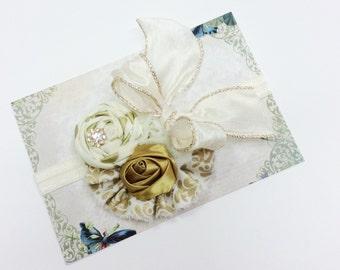 Gold ivory Baby girls headband cream gold headband toddler headband little girl headband shabby chiffon rose flower fabric