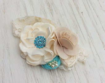 aqua blue ivory headband baby girl headband toddler headband little girl headband shabby chiffon rose flower fabric