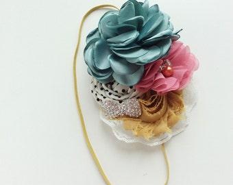 Mauve pink sage green girls headband baby girl headbands matilda jane headband chiffon flower fabric flower Vintage headband newborn rolled