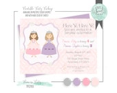 Princess Twin Sister Birthday Party Invitation Printable PDF file. Sized 5 by 7. MULTIPLE color schemes and hair colors