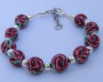 Bracelet, Artisan Bracelet, Dark red rose bracelet, rose bead bracelet, Floral bracelet, unique bracelet, clay art jewelry, Shygar bracelet