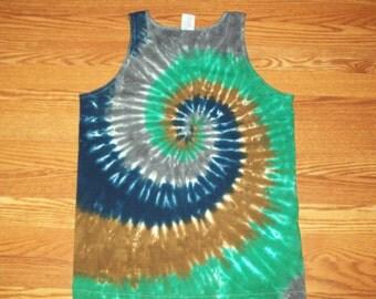 S M L XL 2X 3X Tie Dye Tank - Adult plus size tie dye- Tank Top - Camo n' Cobalt tie dye shirt