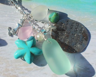 Beach Necklace, Sea Glass Necklace, Mermaid, starfish, Silver Necklace, Sand between your toes charm jewelry, Inarajewels, Jewelry gifts