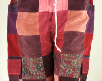 "Size 30"" (8-9) Womens Corduroy Patchwork Corduroy Shorts"
