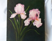 Vintage Signed Floral Painting Original Art Irises