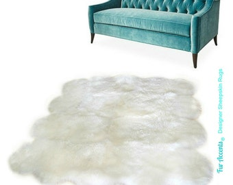 Faux Fur Sheepskin Rug - Octo Multi Pelt - Shaggy - Soft - Thick White or Off White Shag - Fur Accents Designer Rugs and Throws USA