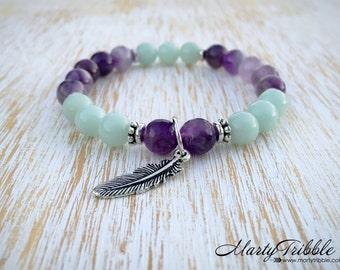 Amazonite Bracelet, Amethyst Bracelet, Feather Bracelet, Boho Jewelry, Yoga Bracelet, Tribal Jewelry, Mala Bead Bracelet, Healing Bracelet