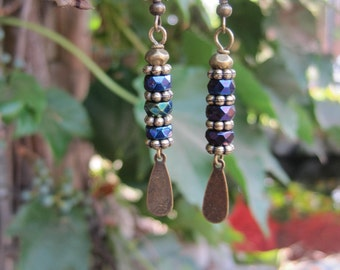 Iridescent Iris Rondelle Beaded Earrings - Boho Dangle Earrings