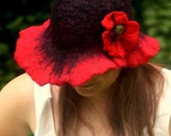 boho hat - poppy flower hat - felted hat - wool hat - cute hat - felt hat - wide brim hat - felted head wear - hippie hat - flopper hat