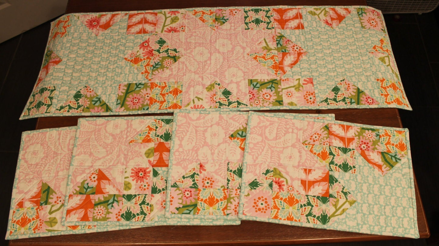 Handmade quilted kitchen gift set floral by for Quilted kitchen set