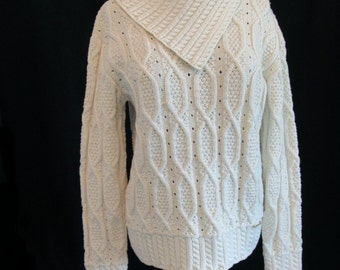 Vintage Blarney Woollen Mills 100% Merino Wool Ivory Irish Fishermans Cable Knit Sweater Classic Ireland  Women's Size XL