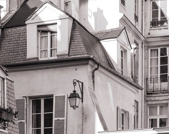 Paris Photography - Marais Buildings, Street Scene, Paris decor, Black and White Fine Art Photograph, Urban Home Decor